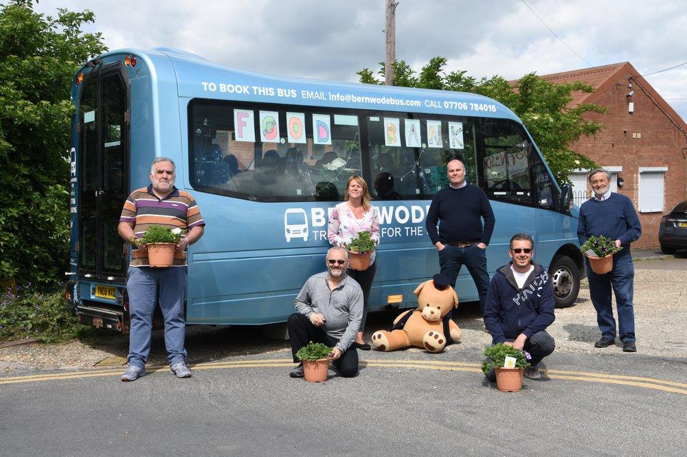 Bernie the Bus with flowerpot team.JPG