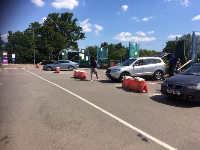 Cars parked up at Buckinghamshire Council's household recycling centre in Burnham