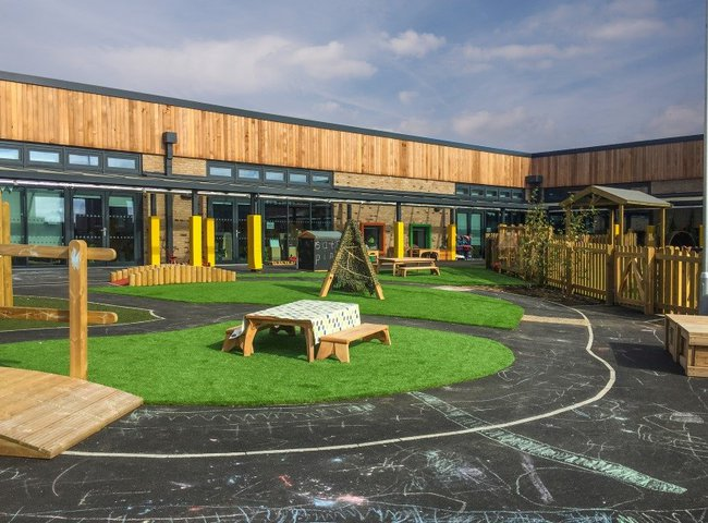 Green Ridge Primary Academy playground: small grass islands surrounded by tarmac and wooden fencing
