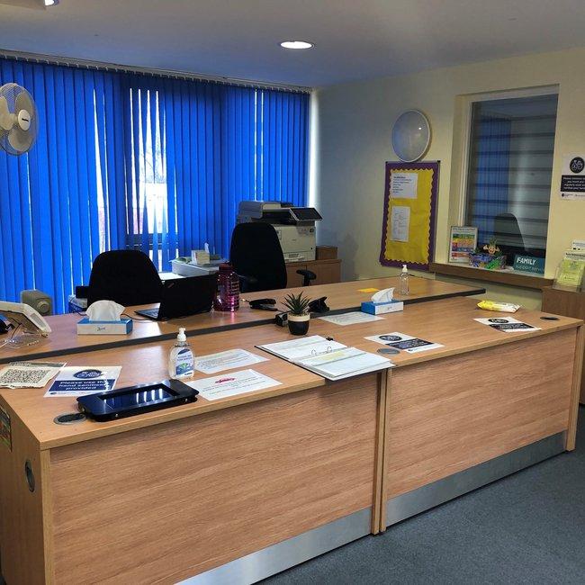 Reception desk at Southcourt Family Centre Plus
