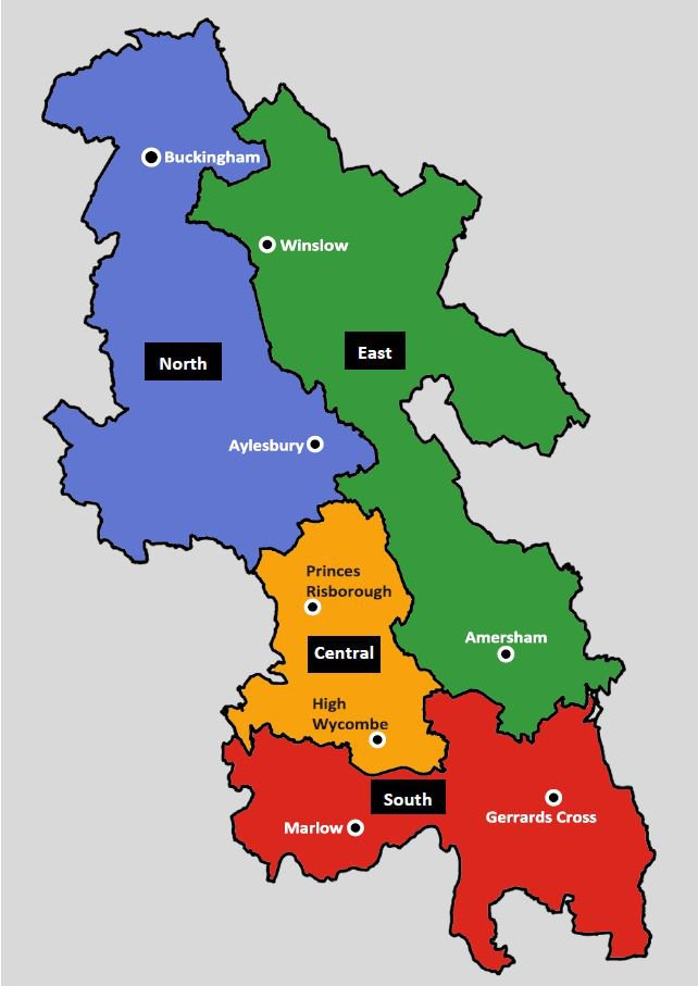 Map showing the boundaries of the different areas of Buckinghamshire. North includes Aylesbury and Buckingham, East includes Winslow and Amersham, South includes Marlow and Gerrards Cross, and Central includes Princes Risborough and High Wycombe.